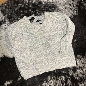 Olive and J sweater with criss cross design